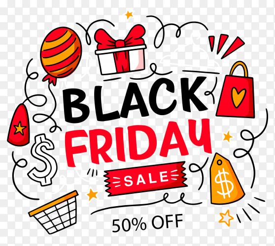Hand drawn black friday concept on transparent background PNG