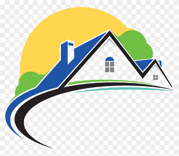 Hand drawn house and sun on transparent background PNG