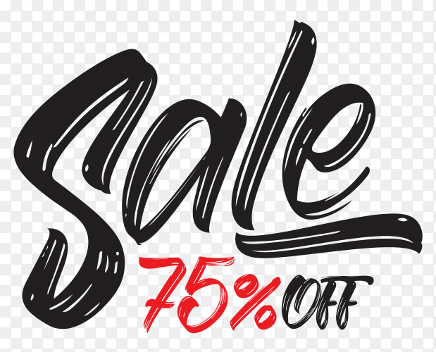 Hand drawn lettering sale special offer discount black friday sale on transparent background PNG