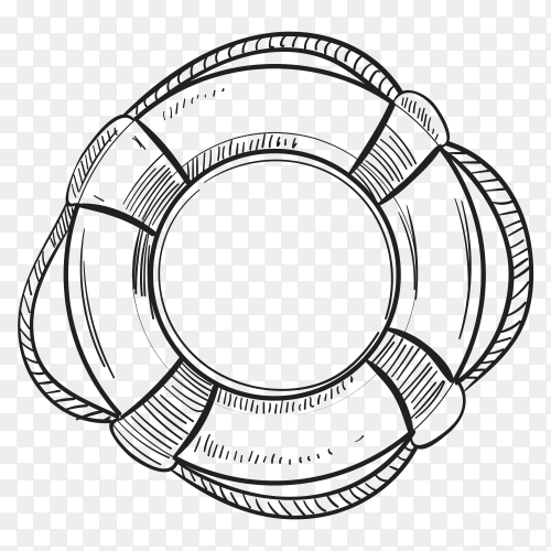 Hand drawn lifebuoy on transparent background PNG