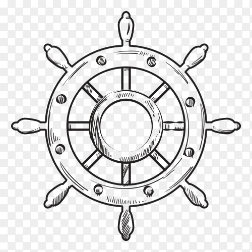 Hand drawn wheel ship on transparent background PNG