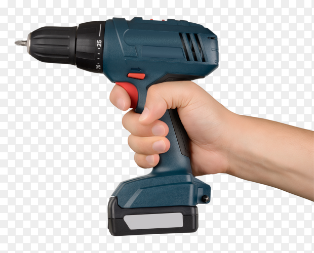 Hand holding Cordless green screwdriver isolated on transparent background PNG