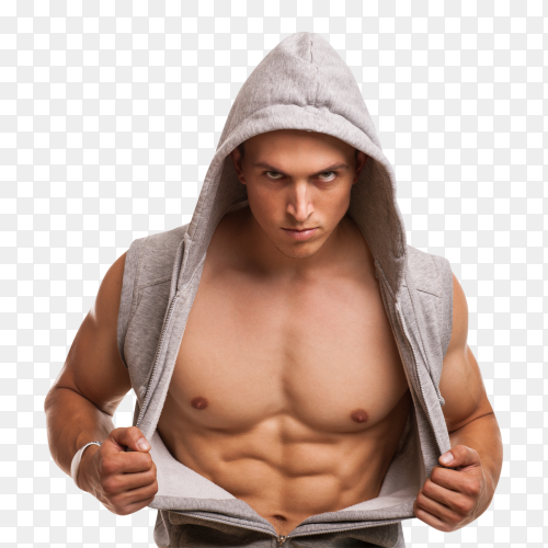Handsome bodybuilder wearing gray sleeveless hoodie on transparent background PNG