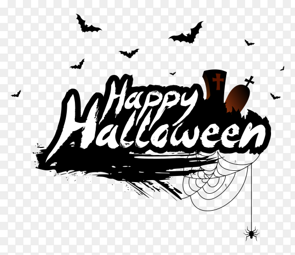 Happy halloween lettering design on transparent background PNG
