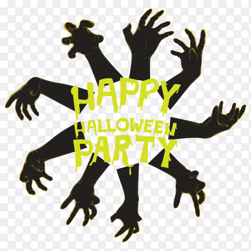 Happy halloween party poster on transparent background PNG