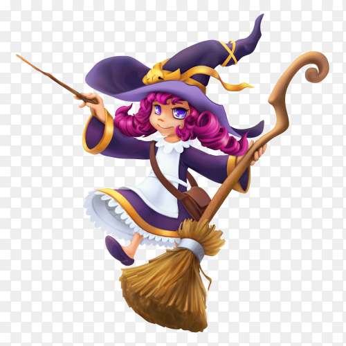 Happy halloween witch character on transparent background PNG
