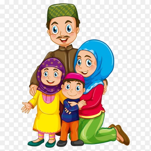 Happy muslim family member cartoon on transparent background PNG