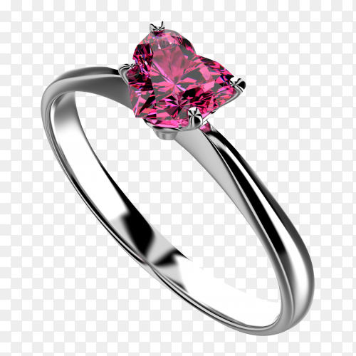 Heart shape Pink diamond ring on transparent background PNG