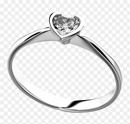 Heart shape diamond ring on transparent background PNG