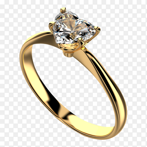 Heart shape gold diamond ring on transparent background PNG