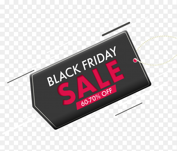 Illustration of black friday banner on transparent background PNG