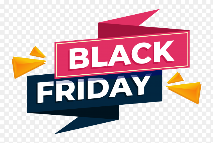 Illustration of black friday sale banner on transparent PNG