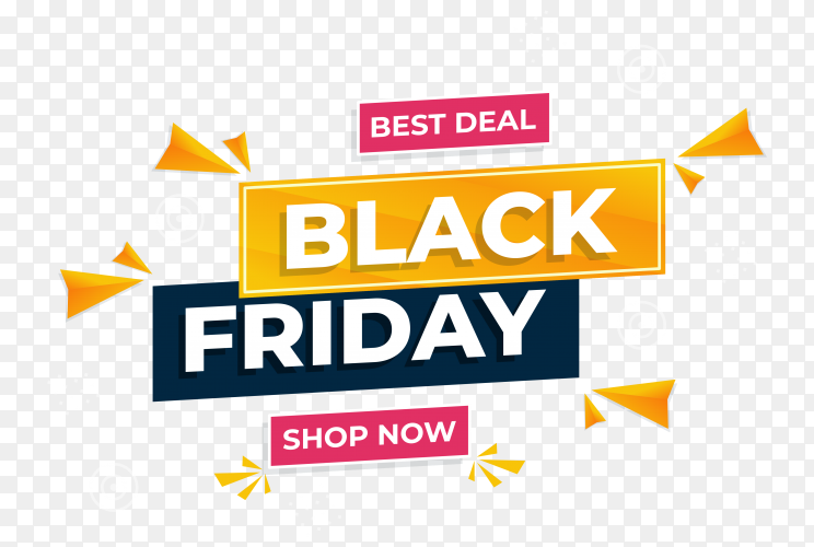 Illustration of black friday sale banner on transparent background PNG