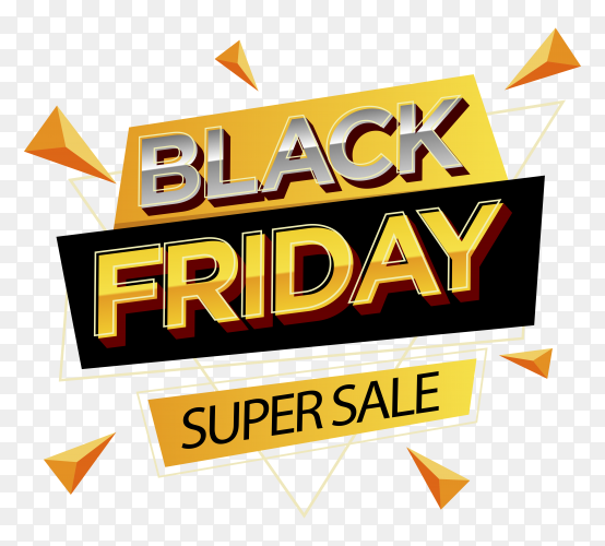 Illustration of black friday sale poster on transparent background PNG