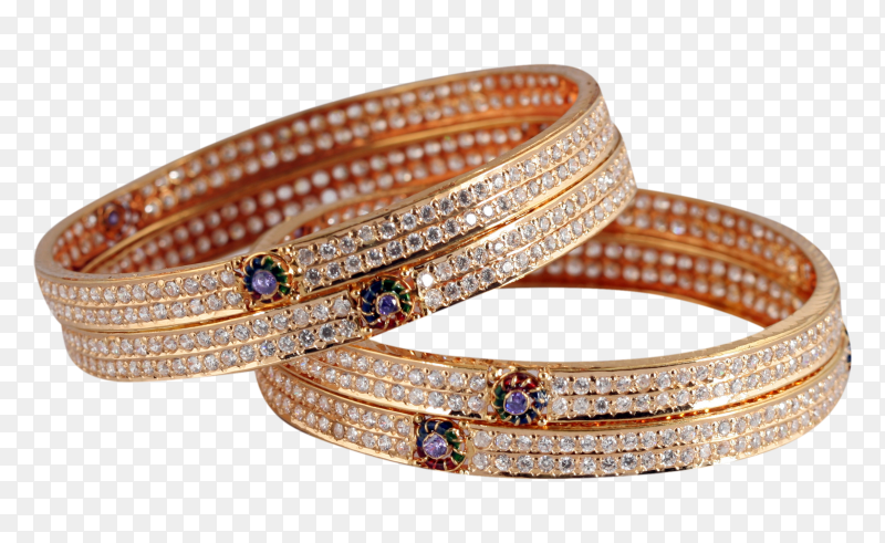 Indian traditional female jewelry bangles on transparent background PNG