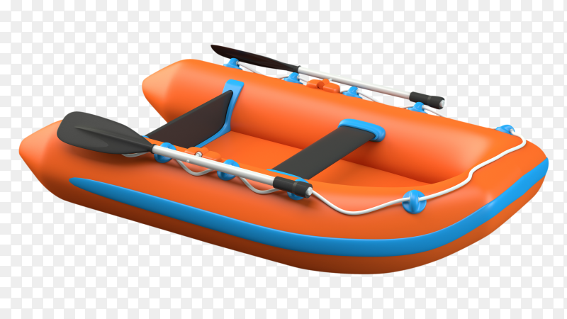 Inflatable boat on transparent background PNG
