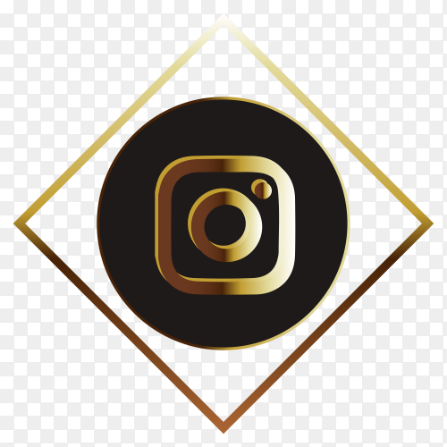 Intsagram golden logo style on transparent background PNG