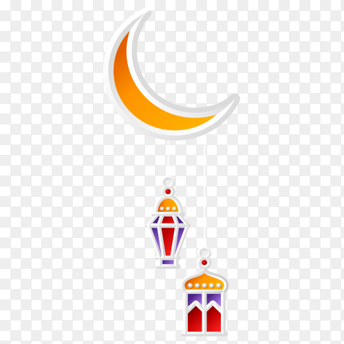 Islamic greeting design ramadan kareem with crescent moon and lantern on transparent background PNG
