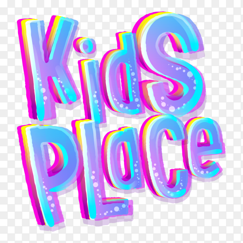 Kids place lettering on transparent background PNG