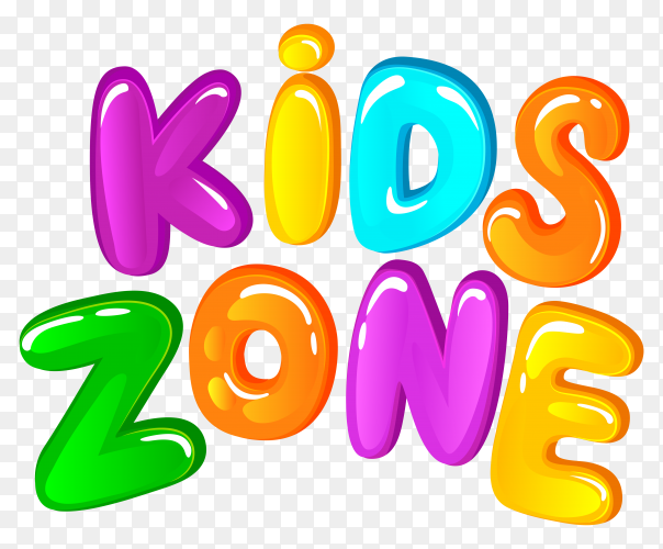 Kids zone Lettering design on transparent background PNG