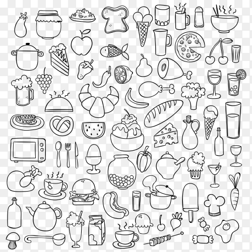 Kitchenware and food on transparent background PNG