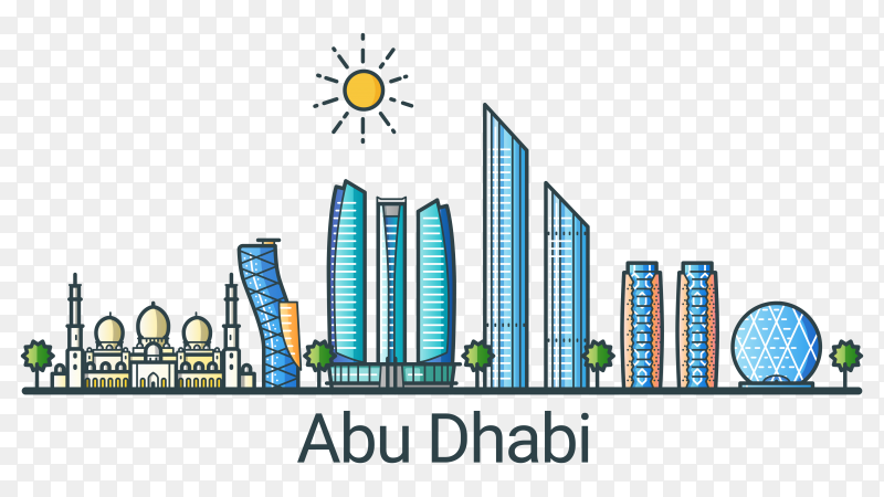 Linear banner of abu dhabi city on transparent background PNG