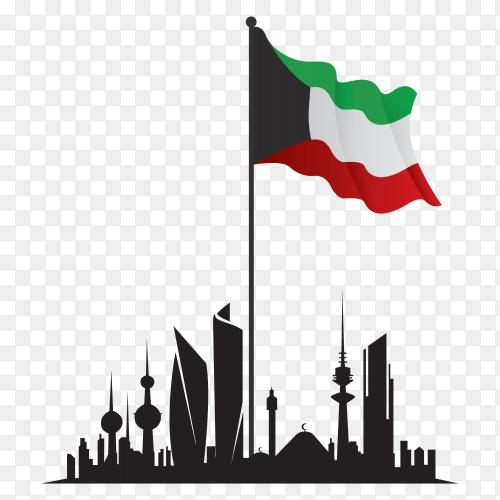 Linear design kuwait skyline on transparent background PNG