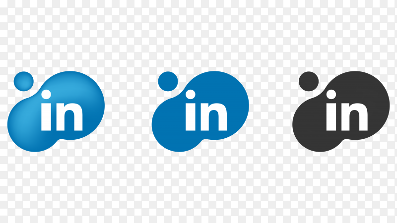 Linkedin icons on transparent  background PNG