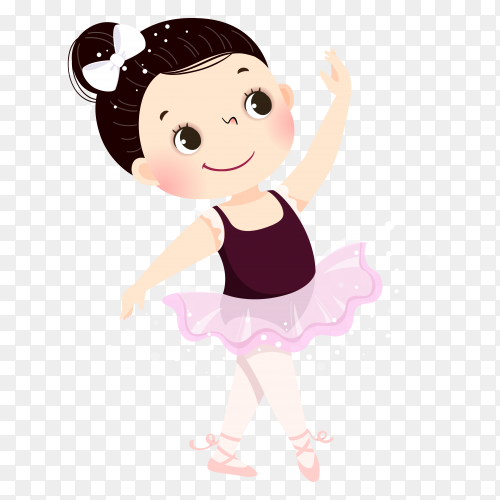 Little ballerina girl dancing on transparent background PNG