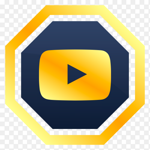 Luxury youtube icon design on transparent background PNG