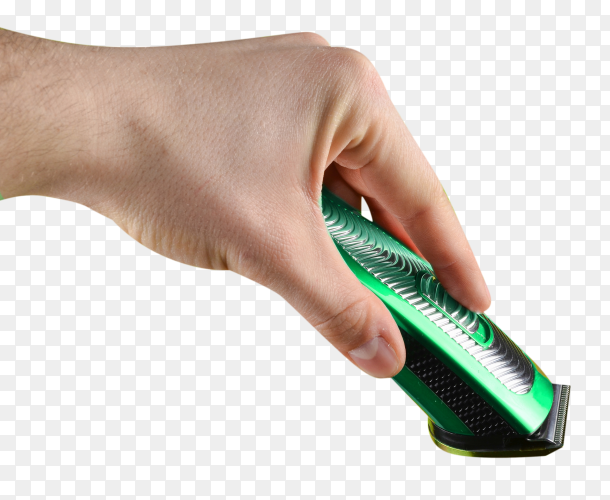 Man holding green electric shaver on transparent background PNG