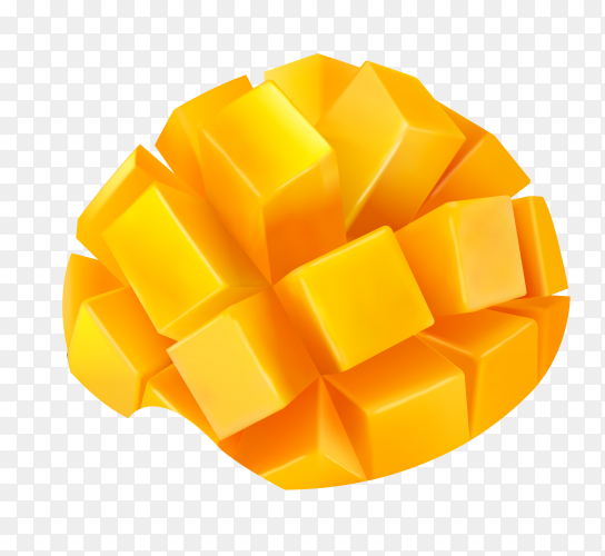 Mango peeled and cut into squares on transparent background PNG