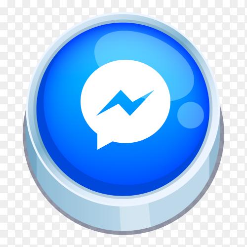 Messenger logo 3D button on transparent background  PNG