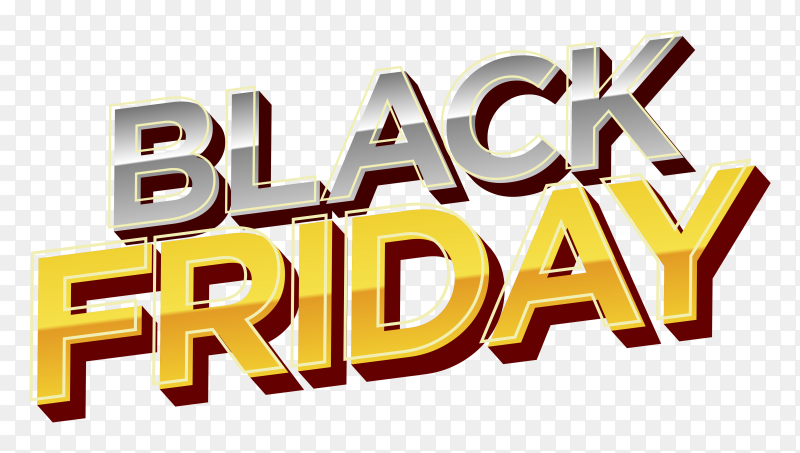 Modern black friday banner on transparent background PNG