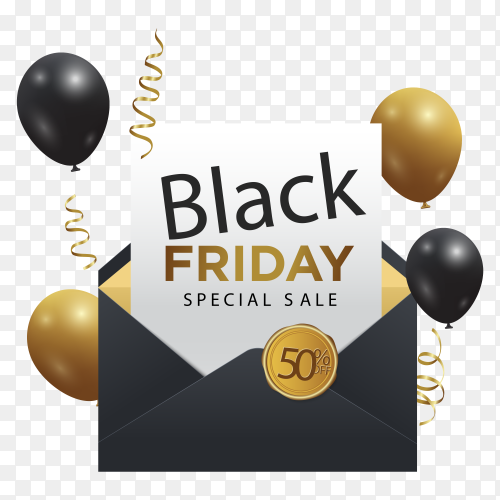 Modern black friday banner with balloons on transparent background PNG
