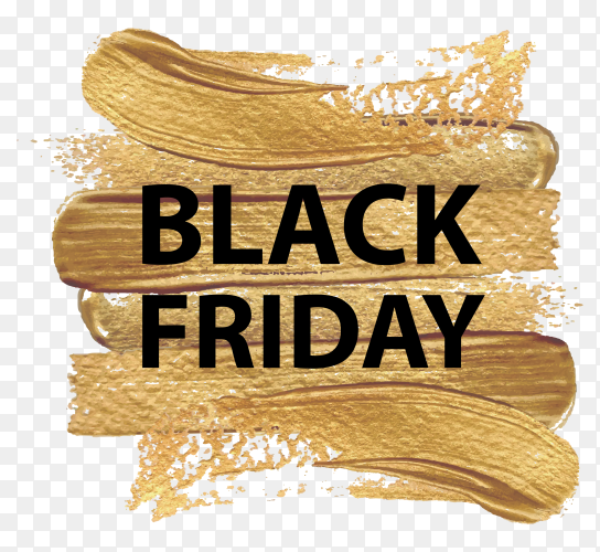 Modern black friday banner with golden brush stroke on transparent background PNG