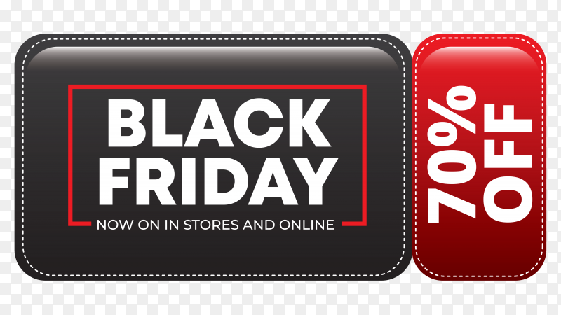 Modern black friday sale banner on transparent background PNG