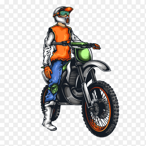 Motocross Wacer With Helmet and Sunset on transparent background PNG