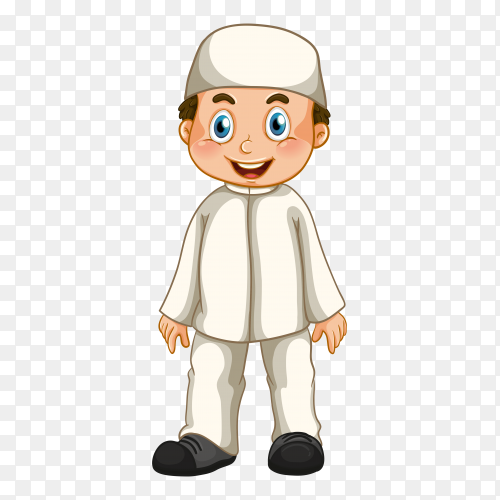 Muslim cartoon character on transparent background PNG