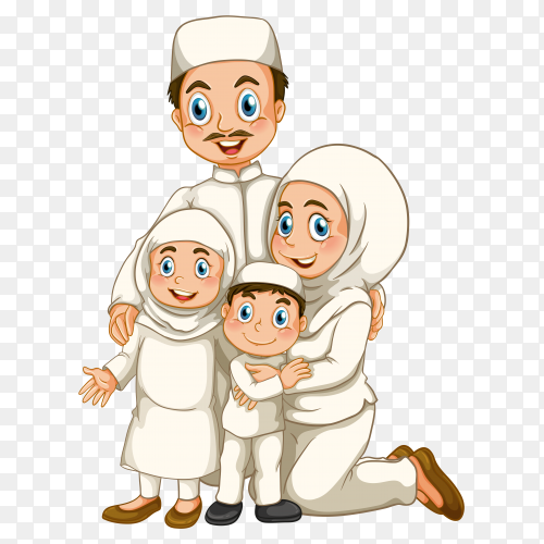 Muslim family member cartoon character on transparent background PNG