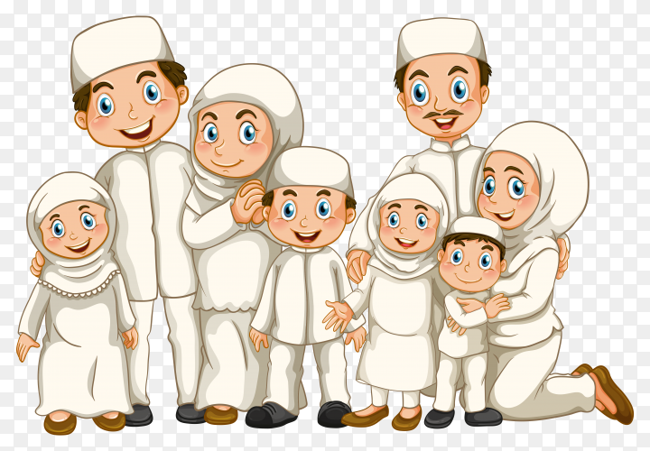 Muslim family member on transparent background PNG