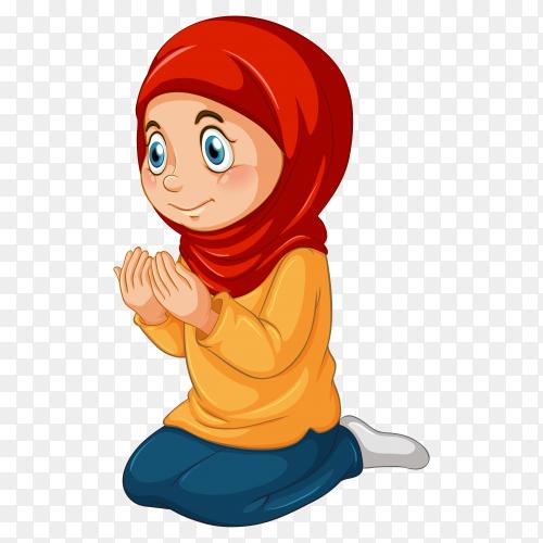 Muslim girl praying on transparent background PNG