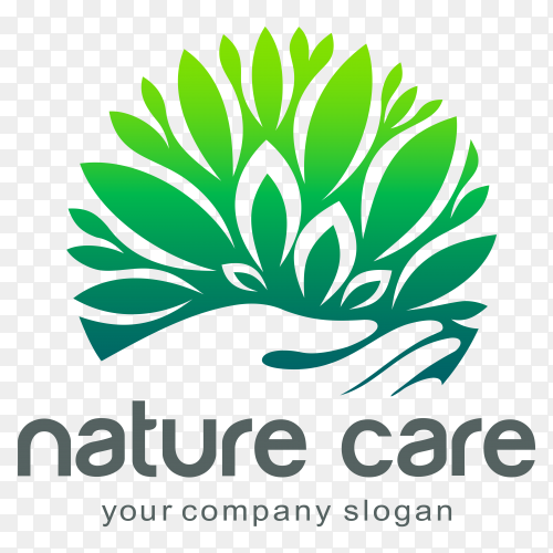 Nature care logo design on transparent background PNG