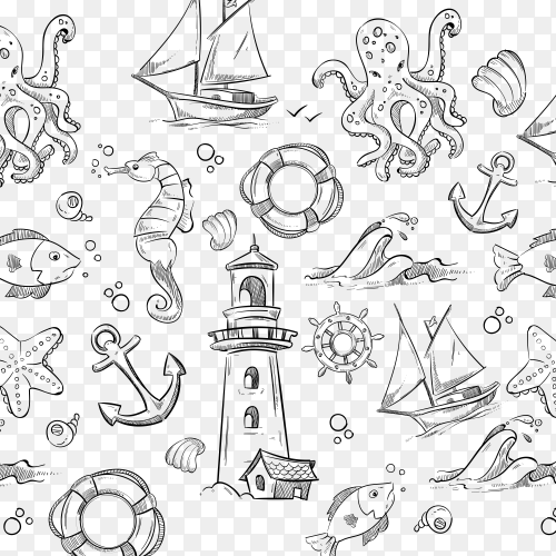 Nautical elements pattern on transparent background PNG