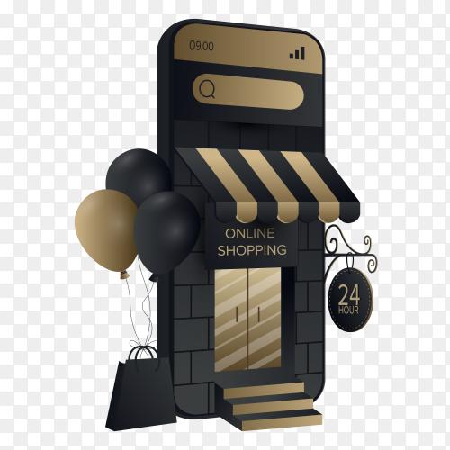 Online shopping mobile Illustration on transparent background PNG