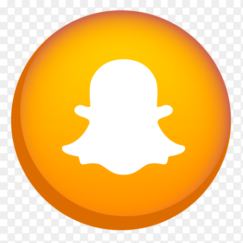 Orange snapcaht icon on transparent background PNG