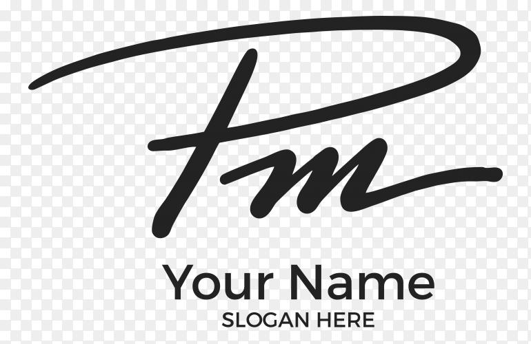 P.m logo design premium vector PNG