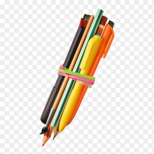 Pen and pencil collections on transparent background PNG