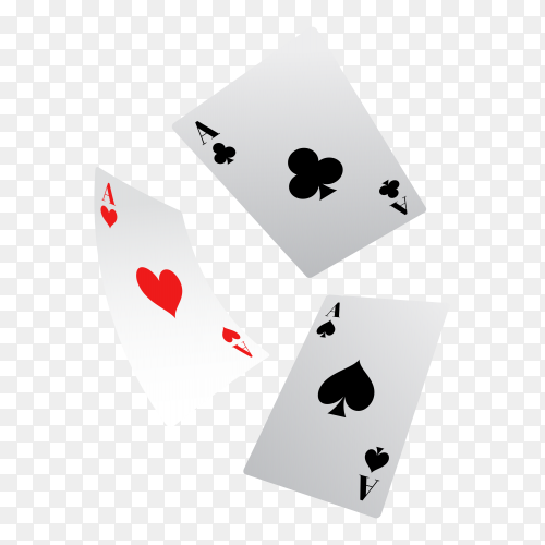 Poker game cards on transparent background PNG