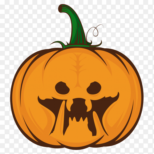 Pumpkin for Halloween with horror movie character on transparent background PNG